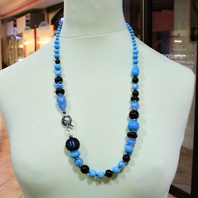 NECKLACE ANTIQUE MURRINA VENICE WITH MURANO GLASS BLUE TURQUOISE BLACK COA06A07
