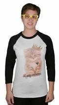 Young Et Reckless Femmes Reine Purr Chat Raglan 3/4 Manche Blanc Noir T-Shirt