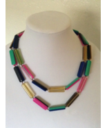 Vintage Acrylic Mod Multi Color Clear Double Layered Fashion Necklace - $60.00