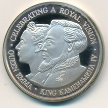 1992 CATHEDRAL CHURCH ST ANDREW-QUEEN EMMA/KING KAMEHAMEHA 1 OZ SILVER 9... - $39.95