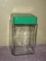 """Clear Anchor Hocking Glass 7"""" Canister Jar Container w/ Green Plastic Lid & Seal - $10.35"""