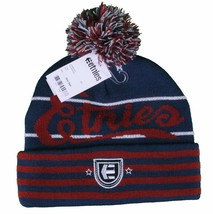 Etnies Bacon Navy Burgandy Skateboarding Pom Beanie Winter Hat