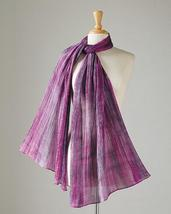 "Smithsonian Wild Hyacinth Watercolors Hand Dyed Silk Scarf 70"" Long - $49.99"