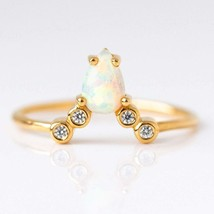 Natural Pear Opal Gemstone Engagement and Wedding 14 k Rose Gold Ring - $197.74
