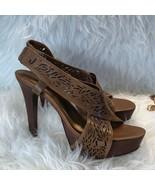 Diane Von Furstenberg brown laser cut IRIS heels - $81.18