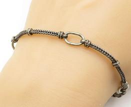 925 Sterling Silver - Vintage Dark Tone Wheat Link Chain Bracelet - B5512 - $27.97