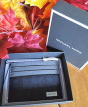 Michael Kors Jet Set Grey/Black Leather Card Case Wallet NWT in Box - £30.66 GBP
