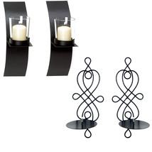 2 Stück Set schwarz Metal Wandleuchter Kerzenständer verdrahtetes Modern - $11.01+