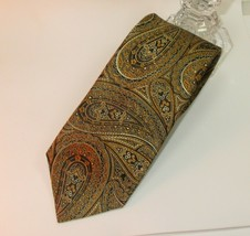 EUC Geoffrey Beene Men's Neck Tie Necktie Silk Gold Brown Paisley Jacquard  - $19.80