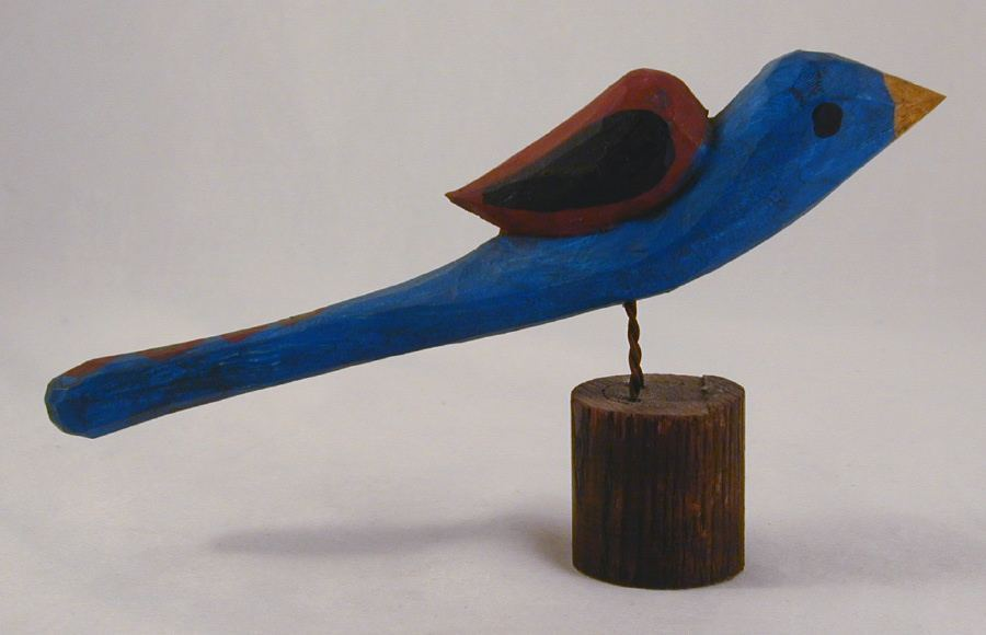 Hand Carved Painted Wooden Folk Art Blue Bird By Phillip Gottshall Lancaster PA
