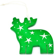 Undugu Society Hand Carved Soapstone Green Reindeer Christmas Holiday Ornament image 2