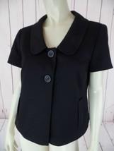 Ann Taylor Loft Petites Blazer 10P Black Poly Rayon Stretch Blend Retro Chic! - $48.51