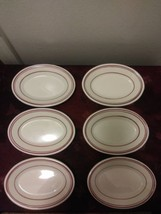 Vintage Homer Laughlin Restaurant Ware Lot Of 6 Small Oval Red Band Plates - $56.09