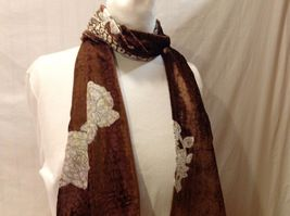 Gorgeous Combo Scarf Velvet and Satin floral vintage rose abstract color choice image 8