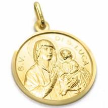 SOLID 18K YELLOW GOLD MEDAL, BLESSED VIRGIN OF SAINT LUCA LUKE, 21 mm DIAMETER image 2