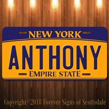 Anthony New York Yellow Name License Plate Aluminum Vanity Tag - $16.82
