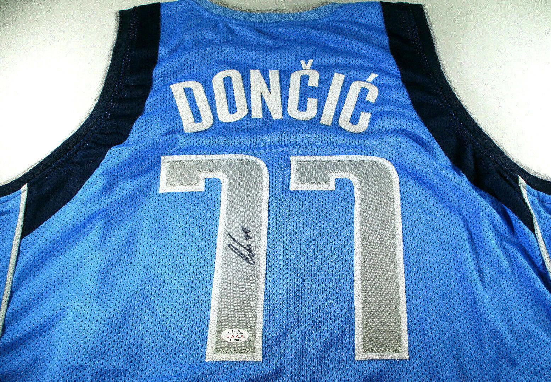 LUKA DONCIC / AUTOGRAPHED DALLAS MAVERICKS BLUE CUSTOM BASKETBALL JERSEY / COA