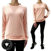 Adidas Women's Climalite 3-Stripe Crewneck Sweatshirt Small Peach White ... - $69.27