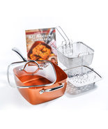 4 Piece/ Set Copper Square Frying Pan For Chef Glass Lid Fry Basket Stea... - $79.99