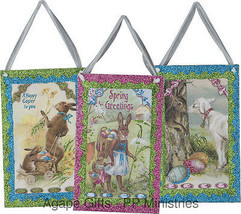 PBK Spring Easter Decor - Vintage Theme Bunny Lamb & Eggs 3pc Set #22955 - $21.95