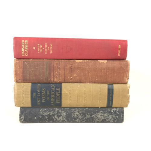 Poetry and Literature Book Stack Lot Vintage Tennyson Whitman Poems English
