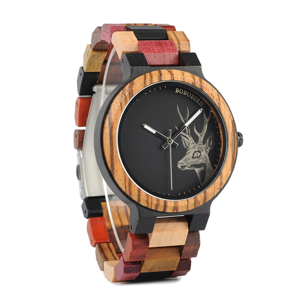BOBO BIRD W*P14-2 Elk Deer Head Quartz Watches Colorful Band  Men Women Wooden W