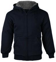 Boys Kids Toddler Athletic Soft Sherpa Lined Fleece Zip Up Hoodie Sweater Jacket image 5