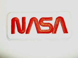 """NASA Worm~Logo Patch~Embroidered~Insignia~Emblem~4"""" x 1 3/4""""~FREE Shipping - $4.75"""