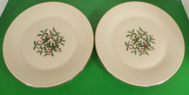 Lenox PRESIDENTIAL SPECIAL Dinner Plate (s) LOT OF 2 Holiday Small Holly... - $35.59