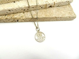 Retro Sterling Silver Asian Character Symbol Pendant Choker Necklace Y52 - $21.99