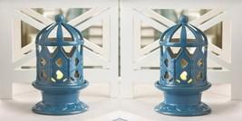 Set of 2 Blue Glazed Ceramic Candle Holder w/ Heart Cutouts LED Candles ... - $34.60