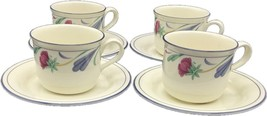 Flat Cup & Saucer Set Poppies On Blue by LENOX 8oz Tea Cup Set of 4 - $39.99