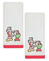 Disney Christmas Mickey Mouse Joy Embroidered Hand Towels Set of 2 in White - $37.50