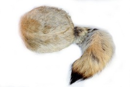 Coyote Tail Davey Crockett Coonskin Cap Real Tail Fur Coon Daniel Boone Hat - $24.49