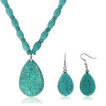 Gem Stone King 22inchesBlue Simulated Turquoise Howlite Necklace w- Drop... - $29.36
