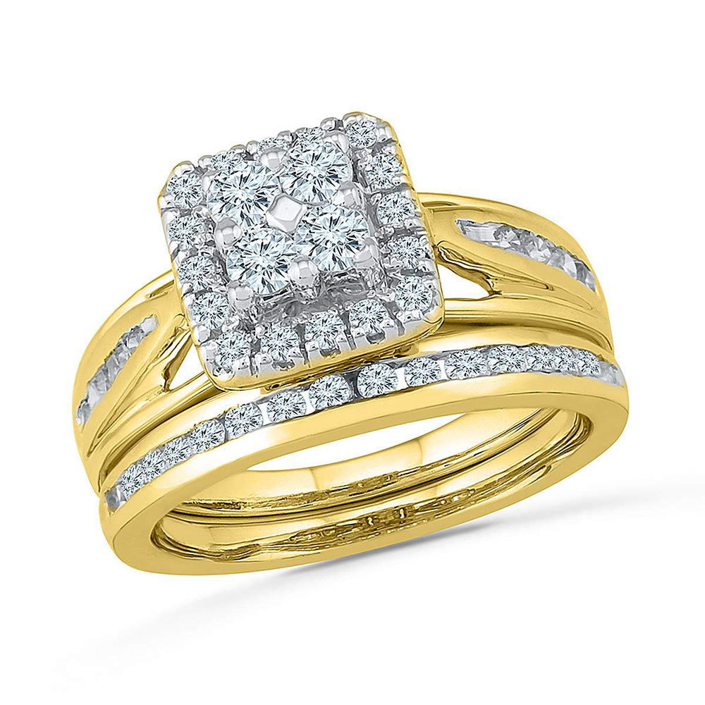 10kt Yellow Gold Round Diamond Bridal Wedding Engagement Ring Band Set 1.00 Ctw - $1,350.00