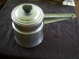 vintage MIRRO aluminum double boiler pot- 1 1/2 quart made in U.S.A. - $12.86