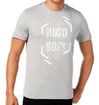 Nuevo Hugo Boss HOMBRE Gris Manga Corta Cuello Redondo Estampada Camiseta - $36.50