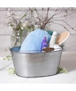 Country farmhouse new Large Oval brushed Tin organizer Bucket w/Handle - $59.99