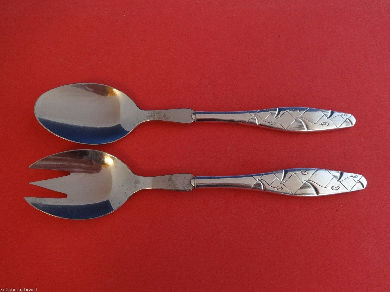 Primary image for Diamond by A. Dragsted Sterling Silver Salad Serving Set 2pc HHWS  8 1/2""