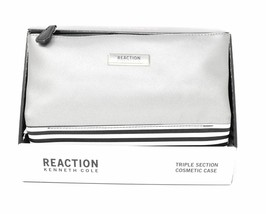 Kenneth Cole REACTION Triple Section Silver Color Cosmetic Case - New - $12.89
