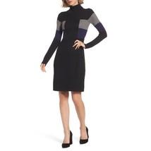 NWT Adrianna Papell Sz M Black Dress Sweater Gray Blue Stripes Long Sleeve - $74.99