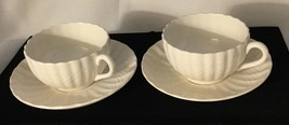 2 Spode Chelsea Wicker Cup & Saucer Sets = 4 Pc Cream White Bone China England - $17.66