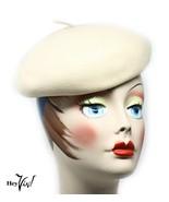 Vintage Tilt Beret Hat - Ivory Wool - Belvedere Henry Pollak NY - Hey Viv - $24.00