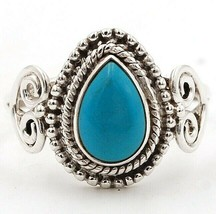 Natural Mexican Turquoise 925 Solid Sterling Silver Ring Jewelry Sz 7.5,... - $29.69