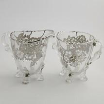 Vintage Elegant Glass Silver Overlay Footed Cream Pitcher & Sugar Heisey? - $35.00