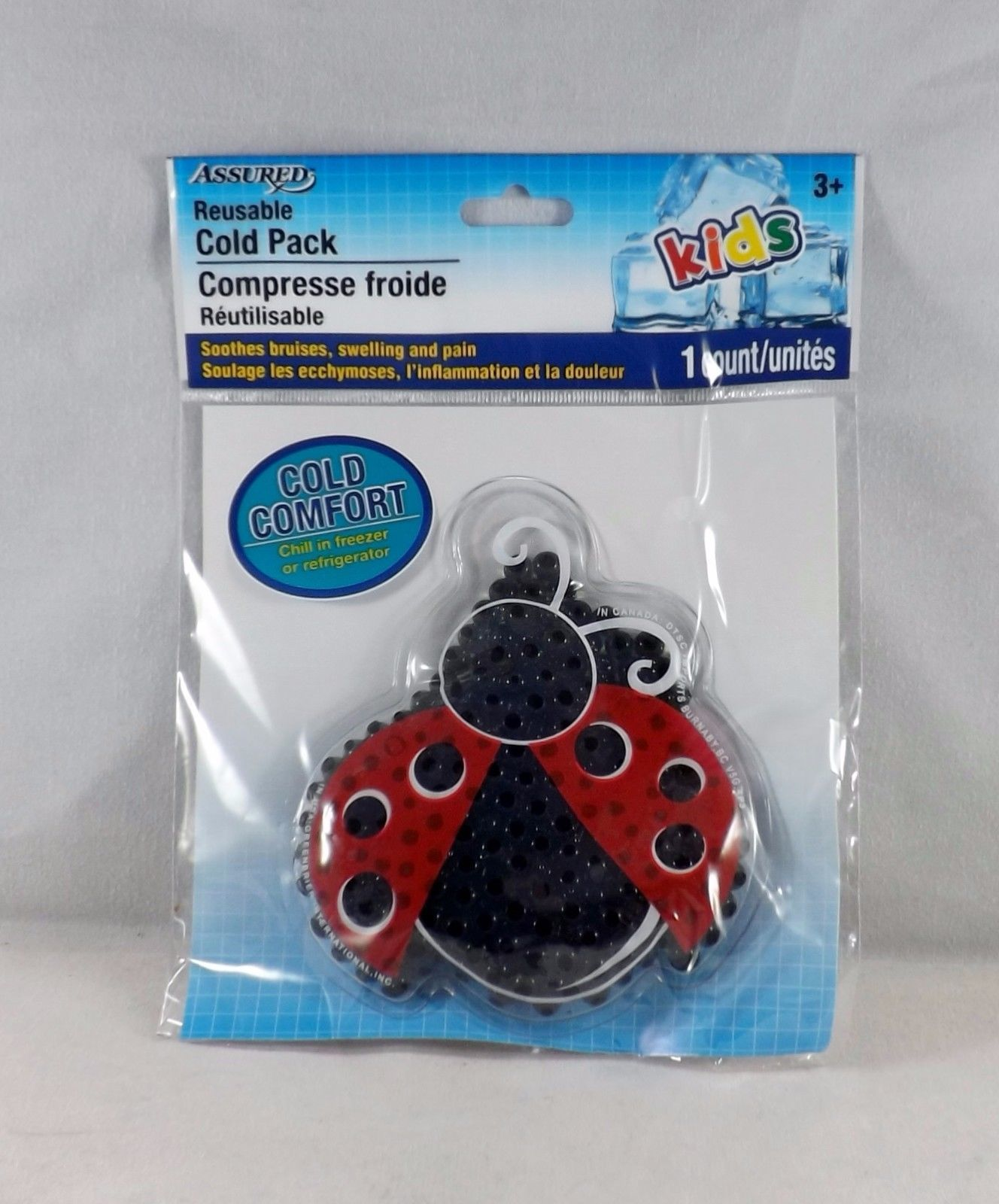 Assured Reusable Cold Pack For Ouchies and BooBoos - New - Ladybug