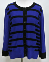 "NWT LIZ CLAIBORNE Collection XL Blue Black Tipped Cardigan Sweater 42"" B... - $15.00"