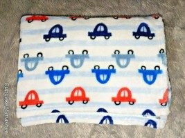 Baby Starters? Boy Blue White Stripe Orange Cars Blanket Lovey SOFT Fleece EUC - $24.38