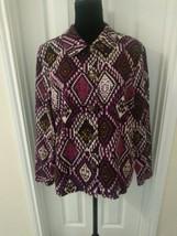 Koret Size Large Purple Button Shirt Southwest Geometric  - $11.39
